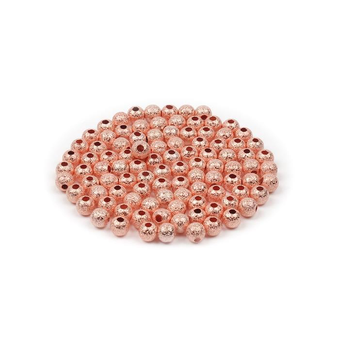 Rose Gold Coloured Brass Stardust Round Beads - 5mm (100pcs/pk)