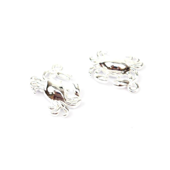 925 Sterling Silver Crab Charms Approx 13x10mm 2pk