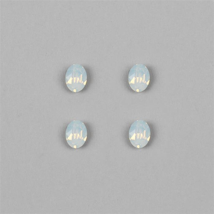 Swarovski Oval Dentelle White Opal F Fancy Stone 4120 - 8x6mm, 4pk