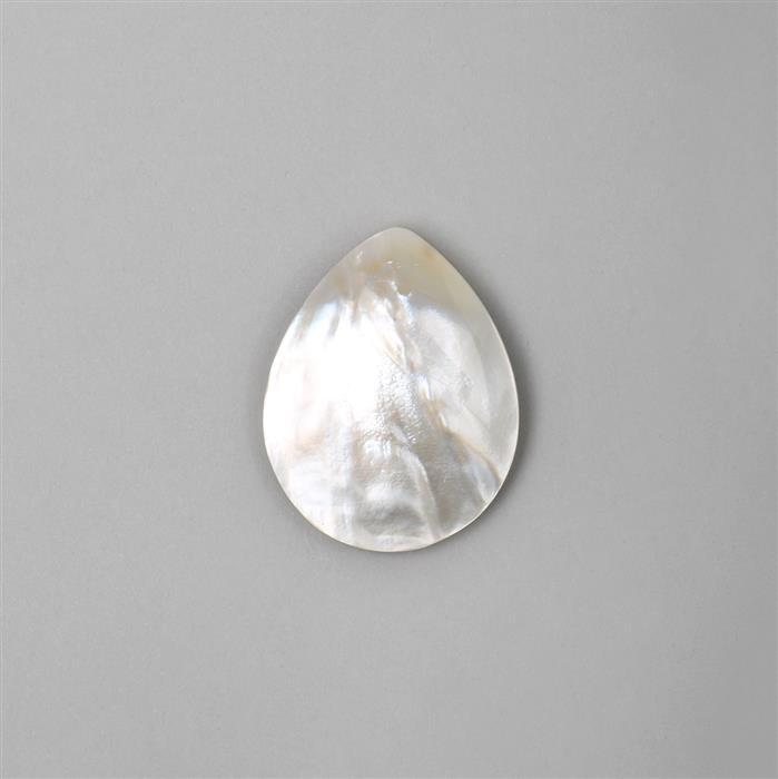 White Shell Pear Cabochon Approx 50x40mm