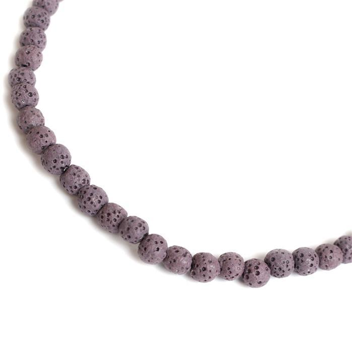 60cts Purple Lava Rock Beads Rounds Approx 6x7mm 38cm