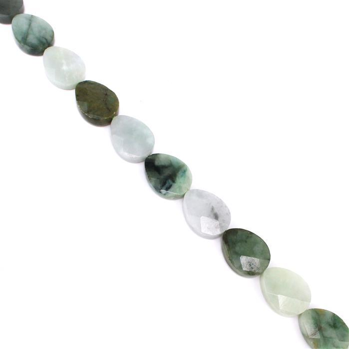 380cts Burmese Multi-Colour Jadeite Faceted Pears Approx 20x15mm, 38cm strand