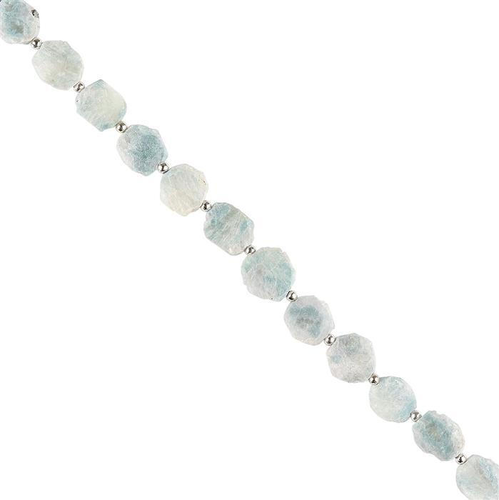 40cts Blue Sillimanite Graduated Plain Irregular Slices Approx 9x7 to 10x9mm, 18cm Strand.