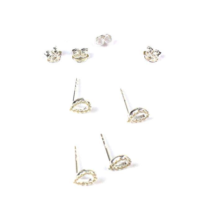 925 Sterling Silver Pear Shape Earrings with Cubic Zirconia, Butterfly Backs Approx 5x7mm 2 Pairs