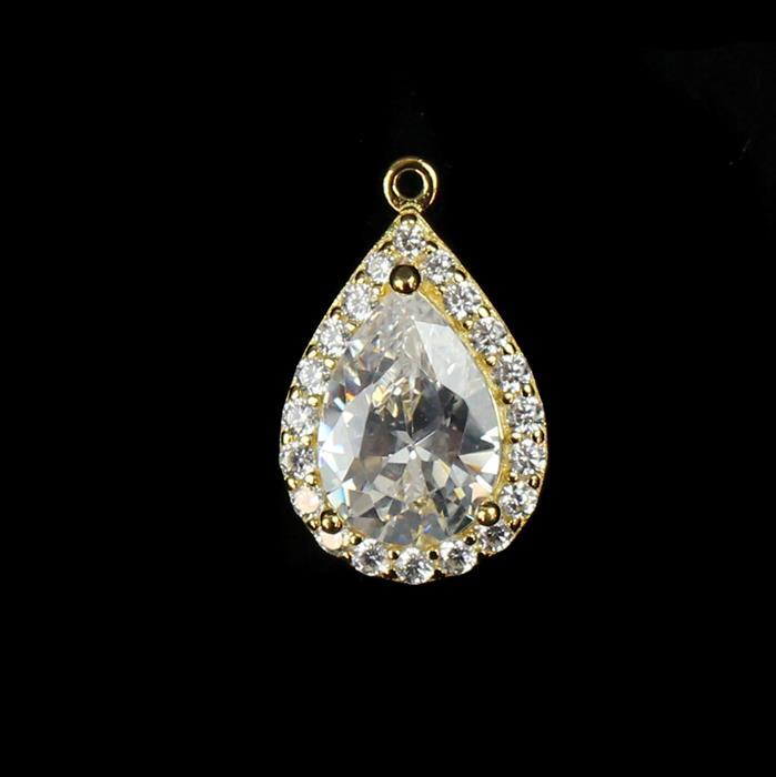 Gold Plated 925 Sterling Silver Cubic Zirconia Large Drop Pendant approx 15mm,1pcs