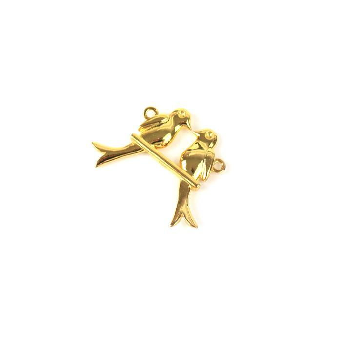 Gold Plated 925 Sterling Silver Love Bird on a Swing Connector Approx 21x29mm 1pc