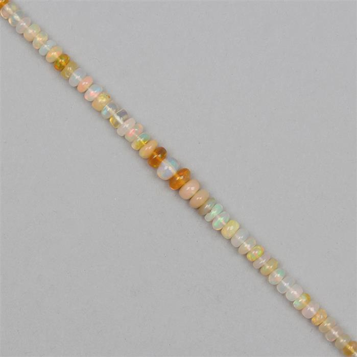 22cts Ethiopian Opal Graduated Plain Rondelles Approx 2x1 to 5x3mm, 21cm Strand.