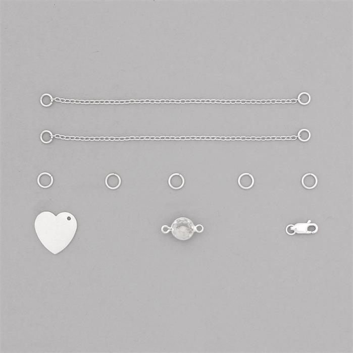 Birthstone Kit: 925 Sterling Silver Bracelet Kit Inc. 1.62cts Clear Quartz Brilliant Round Approx 8mm (10pcs)