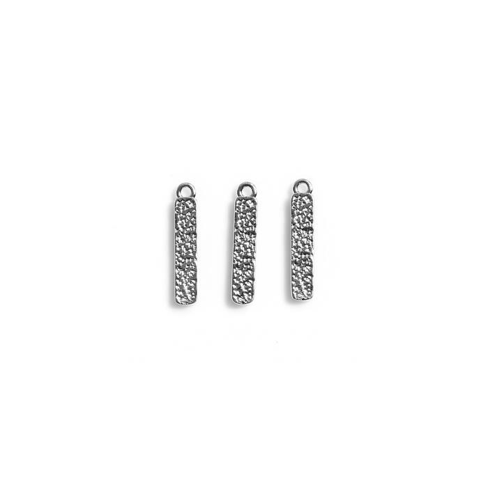 925 Sterling Silver Textured Bar Pendant (Approx 17mm), 3pcs