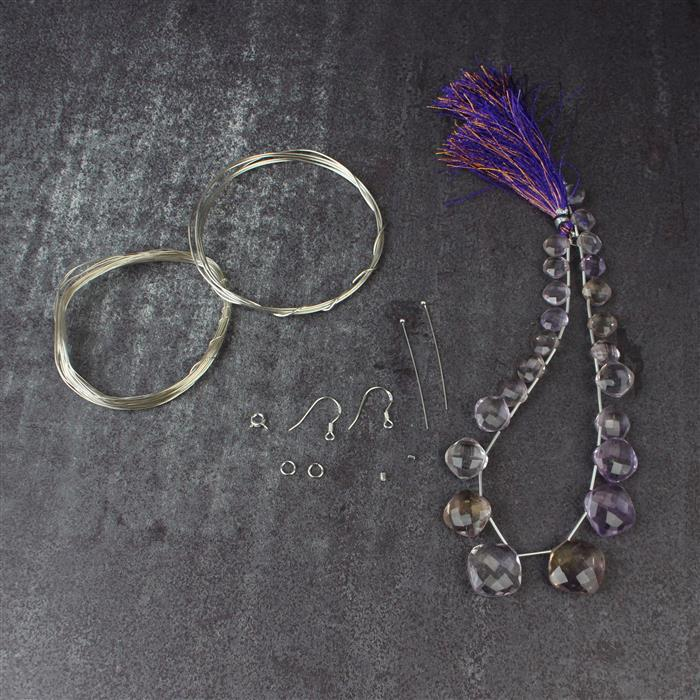 Gilded Purple inc Ametrine graduated, faceted cushions, sterling silver wire & findings