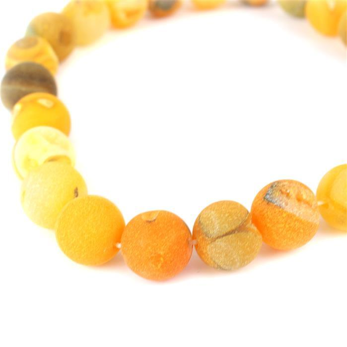 680cts Yellow Agate Frosted Rounds with Druzy Hole Approx 16mm, Approx 38cm/strand