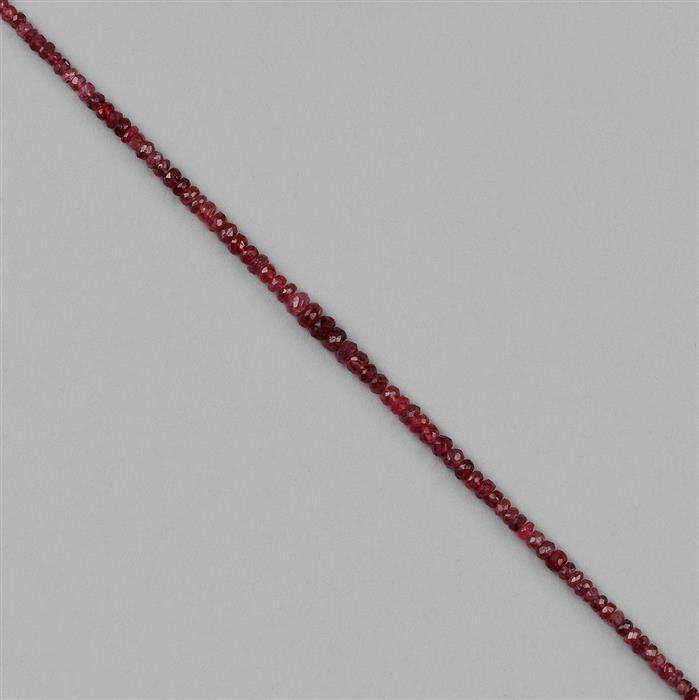 23cts Red Spinel Graduated Faceted Rondelles Approx 2x1 to 5x3mm, 18cm Strand.