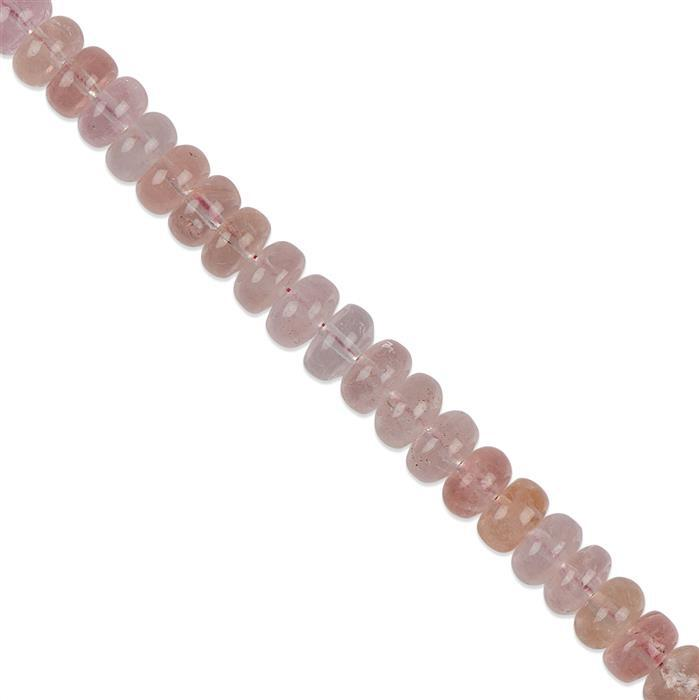 50cts Morganite Plain Rondelles Approx 8x4mm with 1mm Drill Hole, 8cm Strand.