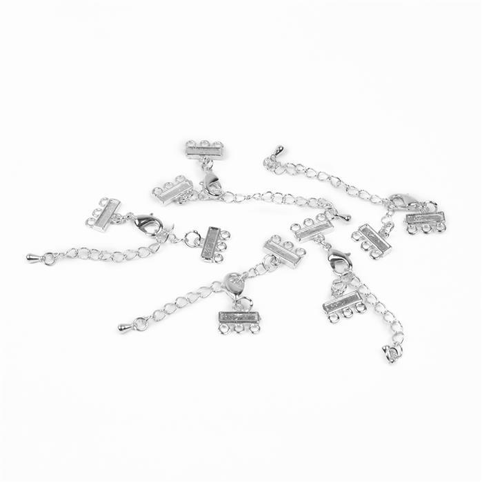 Silver Plated Brass Clasps with Extender - 80x11mm (5pcs/pk)