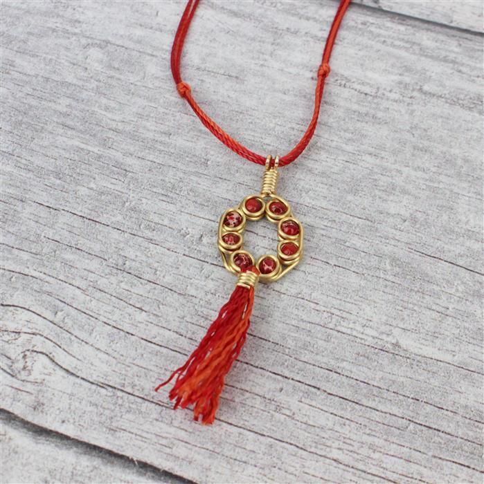 Sunshine; 30cts Red Variscite, 40cts Light Orange Quartzite, 1mm Wire & Nylon Cords 0.9mm