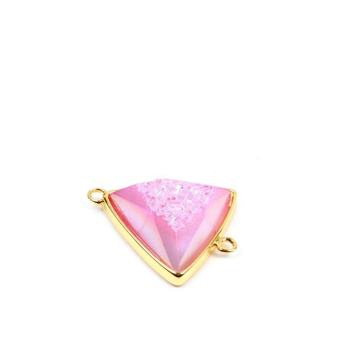 12cts Pink Agate Druzy Triangle Connector Approx 20x24mm, 1pk