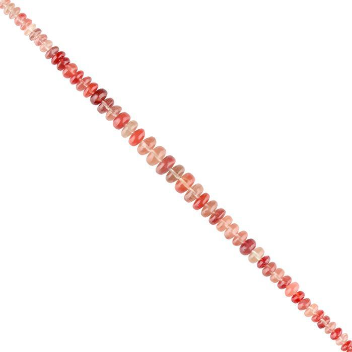 25cts Andesine Graduated Plain Rondelles Approx 3X1 to 6X3mm, 14cm Strand.