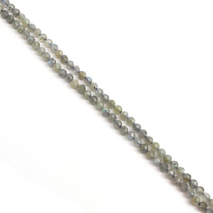 20cts Labradorite Faceted Rounds Approx 3mm, 38cm strand