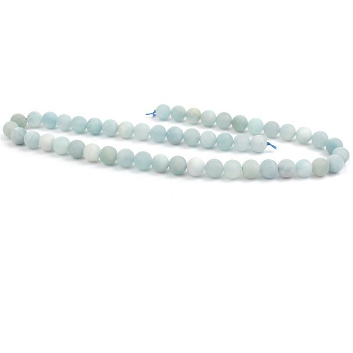 180cts Aquamarine Frosted Rounds Approx 8mm, 38cm strand