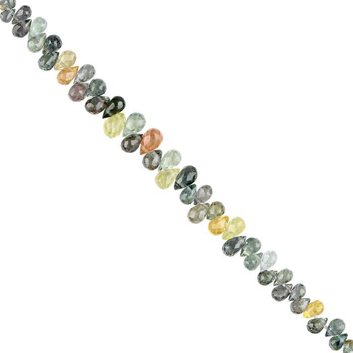 10cts Songea Sapphire Graduated Faceted Drops Approx 3x1 to 4x3mm, 8cm Strand.