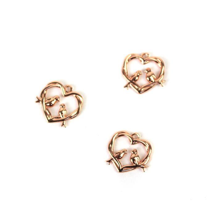 Rose Gold Plated 925 Sterling Silver Entwined Love Birds Charm Approx 12mm 3pcs