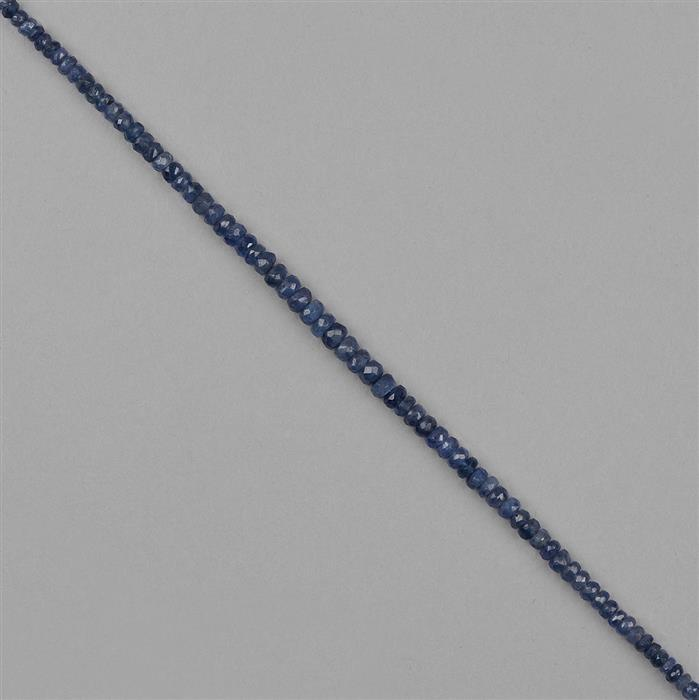 33cts Burmese Sapphire Graduated Faceted Rondelles Approx 2x1 to 4x2mm, 18cm Strand.