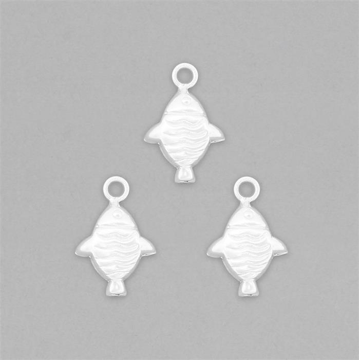 925 Sterling Silver Tiny Stamping Fish Charms Approx 19x13mm (3pcs)