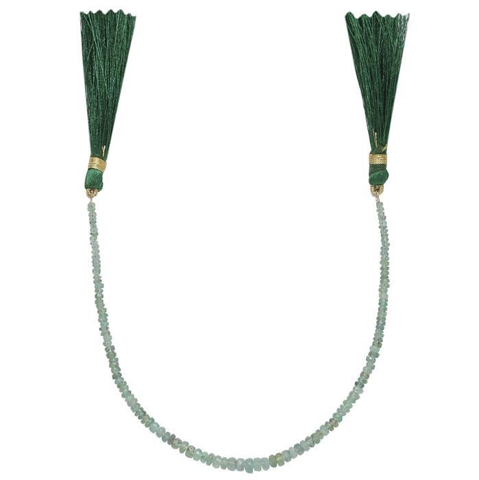 15cts Emerald Graduated Faceted Rondelles Approx 2x1 to 4x2mm, 18cm Strand.