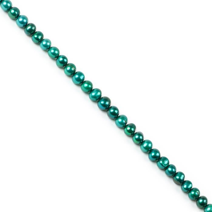 Teal Freshwater Cultured Potato Pearls Approx 7x6mm, 38cm Strand