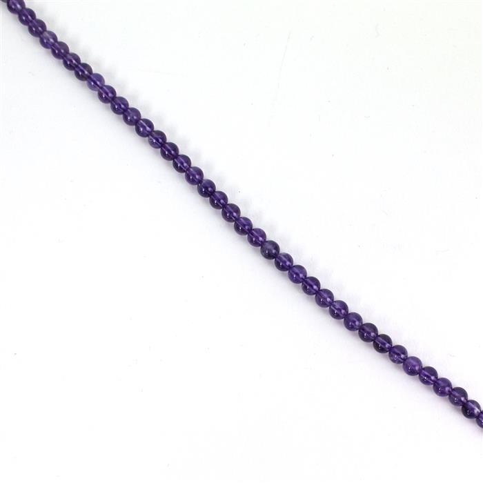 40cts Amethyst Plain Rounds Approx 4mm, Approx 38cm/strand