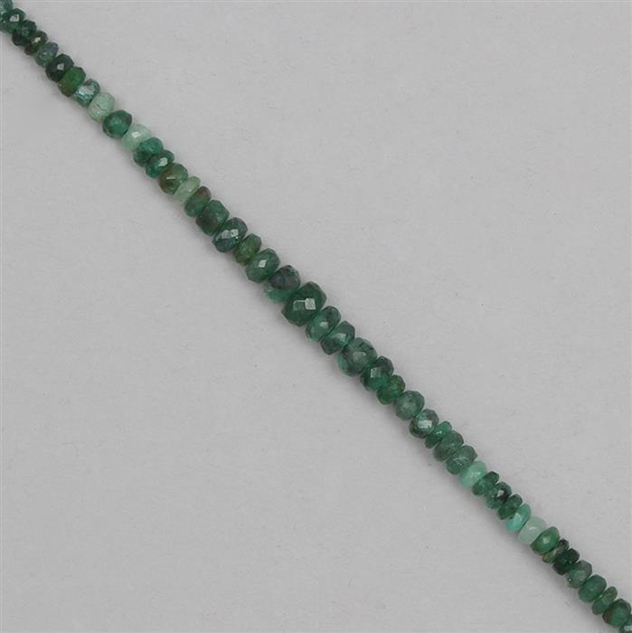18cts Emerald Graduated Faceted Rondelles Approx From 2x1 to 5x2mm, 17cm Strand.