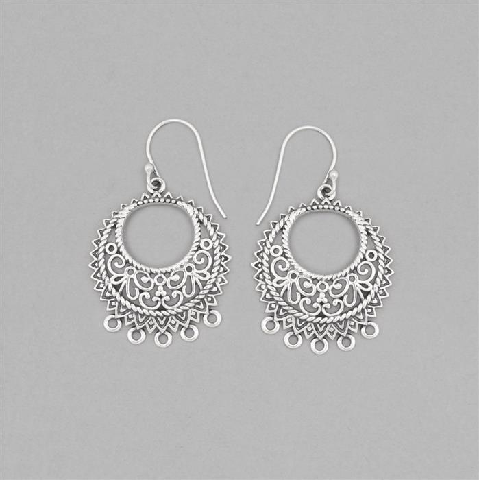 925 Sterling Silver Oxidized Vintage Earrings Chandelier With Five Loops Approx 39x25mm (1pair)