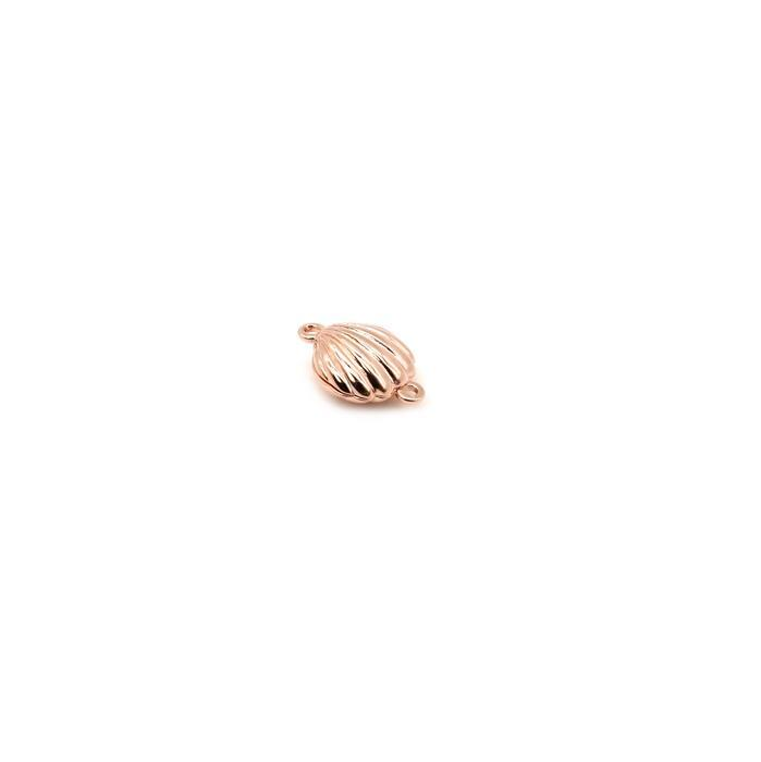 Rose Gold Plated 925 Sterling Silver Scalloped Shell Magnetic Clasp Approx 16x12mm 1pk