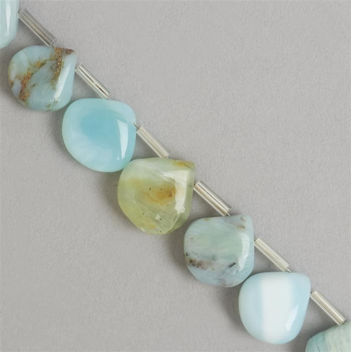 120cts Peruvian Opal Graduated Plain Drops Approx 9 to 14mm, 26cm Strand.