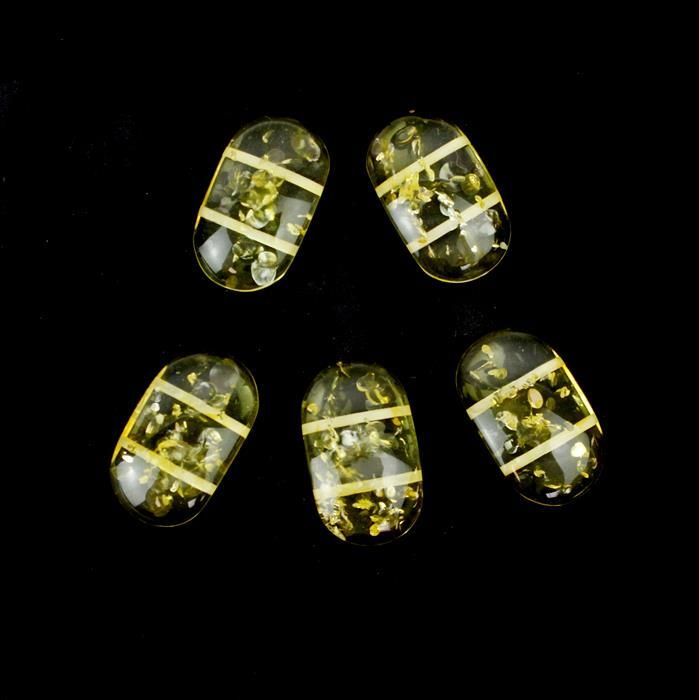 Baltic Lemon Amber double drilled beads 5 pieces approx 25 x 14mm