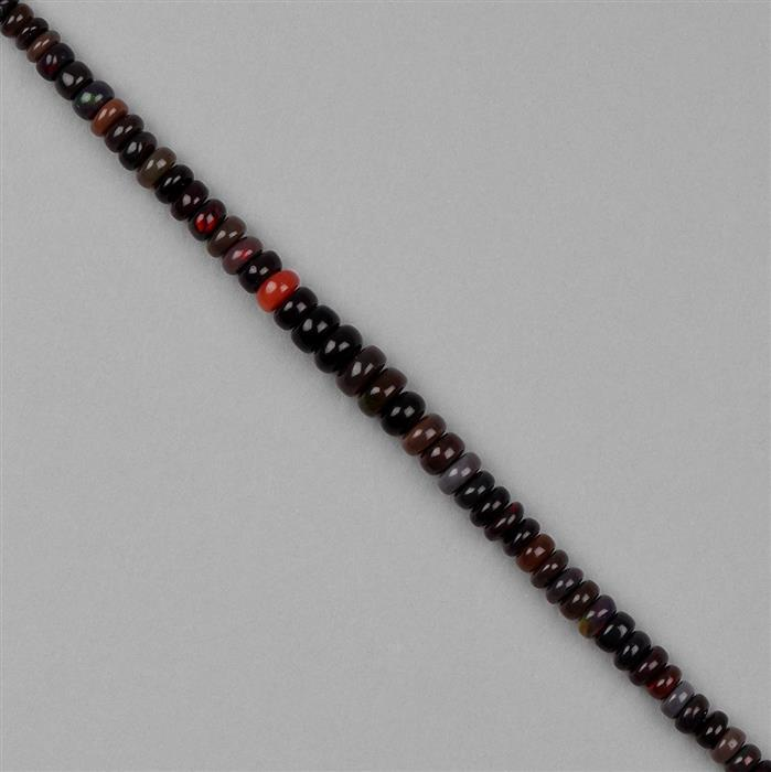 30cts Black Ethiopian Opal Graduated Plain Rondelles Approx 5x2 to 7x4mm, 18cm Strand.