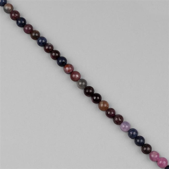 72cts Multi Colour Sapphire Plain Rounds Approx 6mm, 18cm Strand.