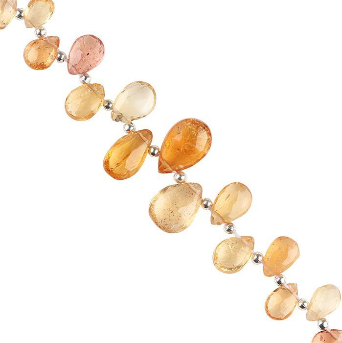 25cts Imperial Topaz Graduated Faceted Pears Approx 6x4 to 12x8mm, 8cm Strand.