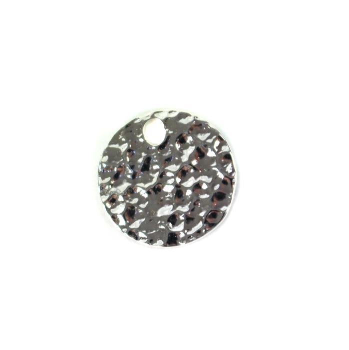 925 Sterling Silver Hammer Effect Round Pendant Approx 15mm 1pc