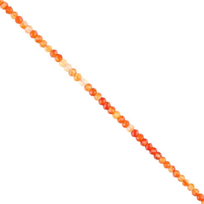 30cts Red Onyx Faceted Rondelles Approx 4x3mm, 28cm Strand.