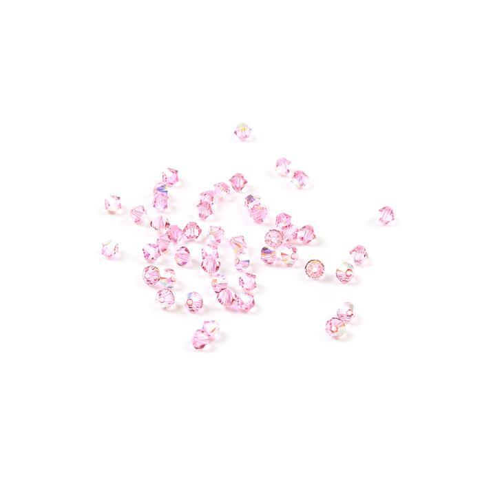 Swarovski Crystal Bicone, Light Rose AB, 4mm, 48pk