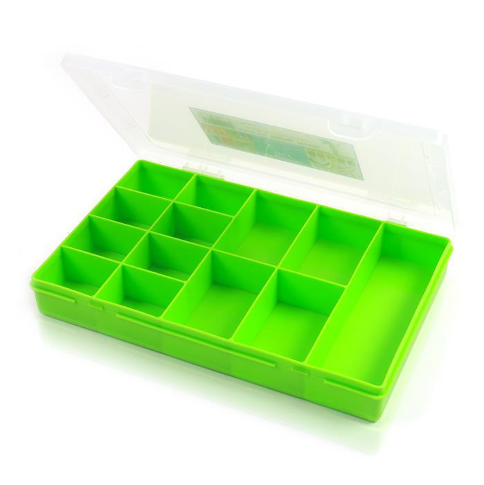 3.03 Lime Organiser Box With 13 Divisions 29x19x4cm
