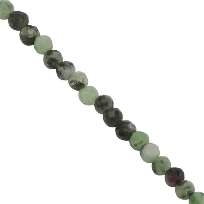 11cts Ruby Zoisite Faceted Rounds Approx 1.5 to 1.5mm, 38cms Strand