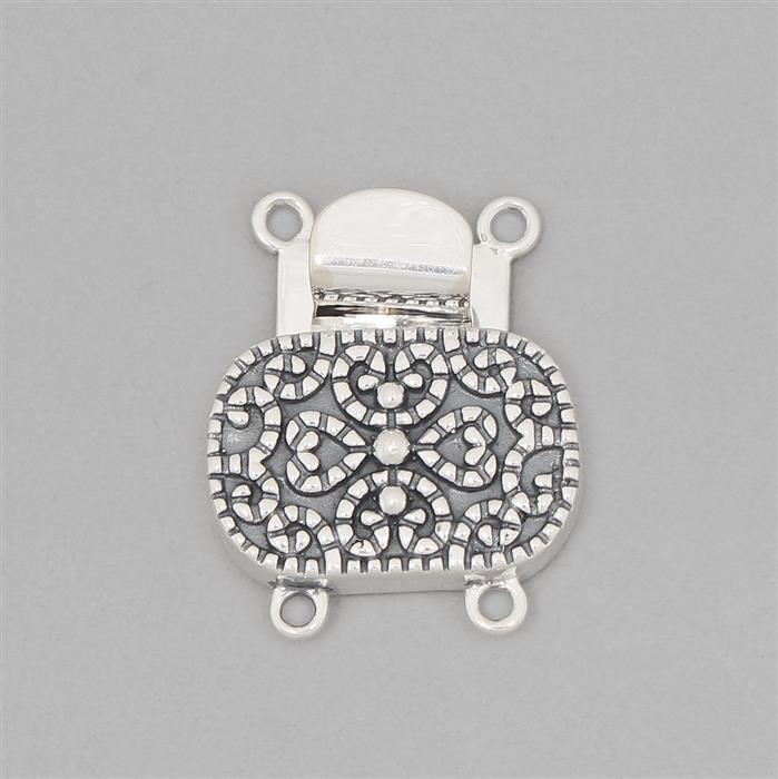 925 Sterling Silver Oxidised Vintage Box Clasp - 22x18mm