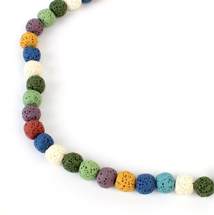 Min 160cts Multi-Colour Lava Rock Beads Rounds Approx 10x11mm 38cm