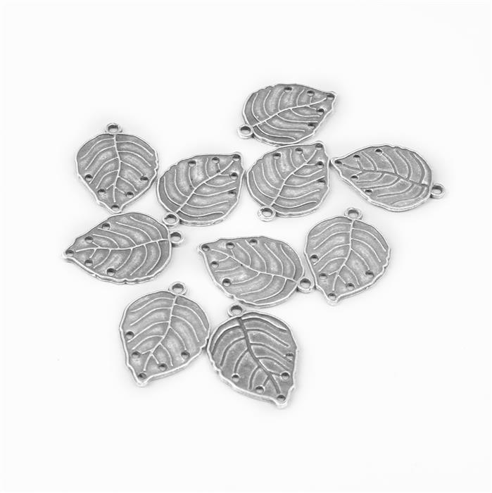 Oxidised Silver Plated Alloy Leaves - 30x20mm (10pcs/pk)