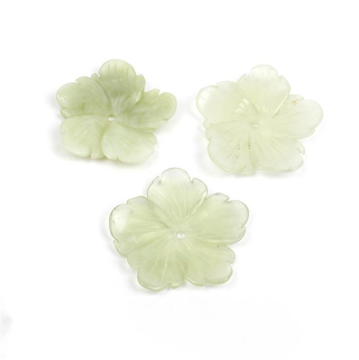 100cts Serpentine Five-Petal Flower Pendants Approx 40mm, Pack of 3