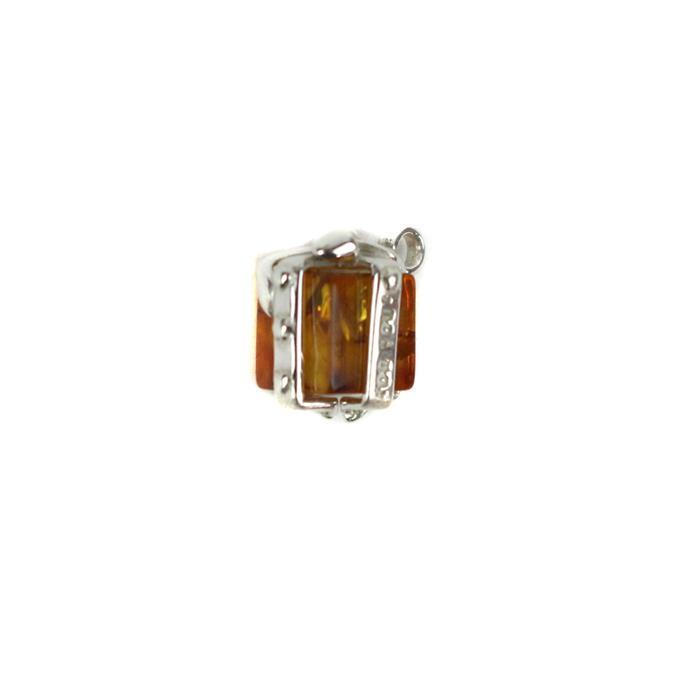 Baltic Cognac Amber Sterling Silver Gift Box Charm Approx 17x10mm
