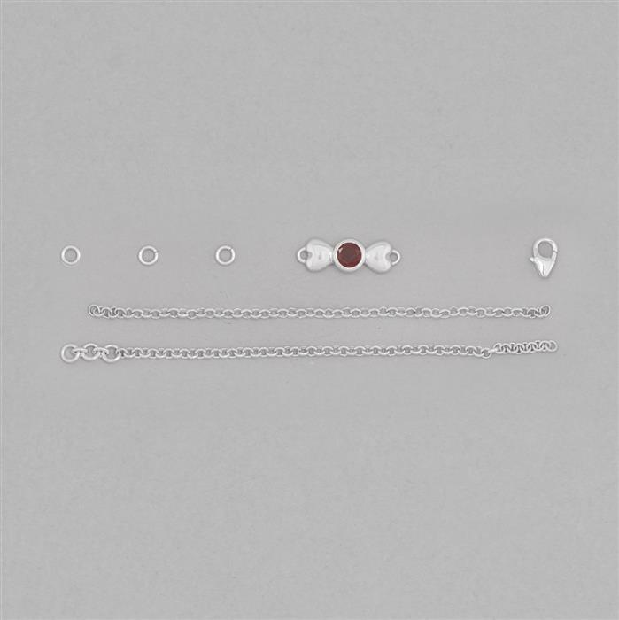 Birthstone Kit: 925 Sterling Silver Bracelet Kit Inc. 0.56cts Garnet Round Approx 5mm