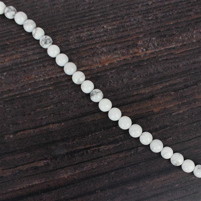 90cts White Howlite Plain Rounds Approx 6mm, 38cm strand
